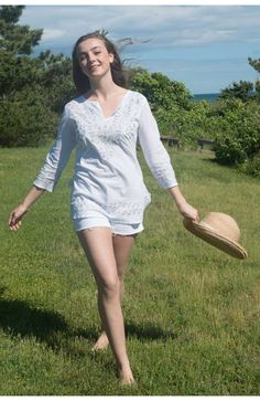 Cotton Embroidered Metallic Tunic in Silver