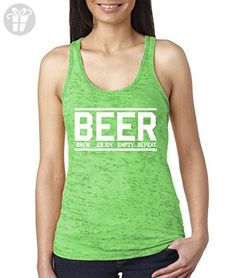 WOMENS Beer Brew Enjoj Empty Repeat Burnout Racerback Tank Top (Medium, KELLY GREEN) (*Amazon Partner-Link)