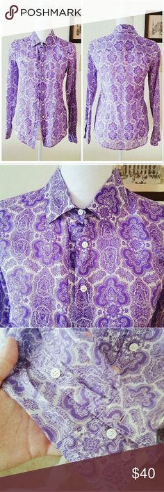 J. Crew The Perfect Shirt Purple Paisley Really cute New With Tags J. Crew  button down. Silk and Cotton blend so super light. Size 00. NO RIPS OR STAINS. Excellent Condition.  Length 25in Sleeve 23.5 in Chest flatlay 13 in  Ships 1-3 Days 10% off Bundles #40 J. Crew Tops Button Down Shirts