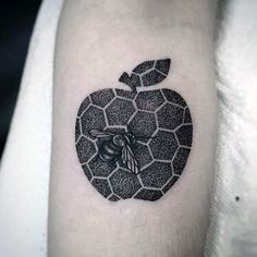 Dotwork Apple And Bee Tattoo On Arm
