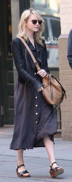 Emma Stone style: dress, jacket, wedge sandals, cross-body purse, sunglasses