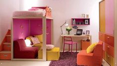 I LOVE this room! Steps, loft bed, lounge...perfect girls room!