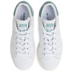 Adidas Stan Smith Shoe ($92) ❤ liked on Polyvore featuring shoes, leather shoes, leather tennis shoes, adidas shoes, leather footwear and adidas