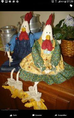 Casal galo galinha Patchwork de Garagem