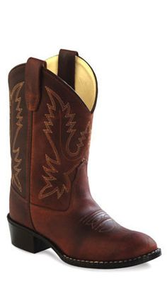 457b389e9434f Old West Rust Childrens Boys Oiled Leather Round Toe Cowboy Boots