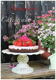 no bake jordbær cheesecake