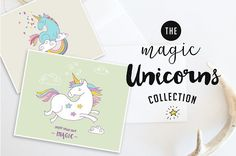 Collection of hand-drawn magic unicorns: Posters, greeting cards, patterns + separate unicorn illustrations and elements. Perfect for greeting cards, appar Unicorn Illustration, Pencil Illustration, Graphic Illustration, Woman Illustration, Photoshop, Unicorn Poster, Texture Web, Design Typography, Illustrator Cs