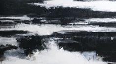John Virtue, Norfolk No. 1. Acrylic, black ink and shellac on canvas, 2009, 152.4 x 310 cm. .  Photo: Courtesy Marlborough Fine Art.