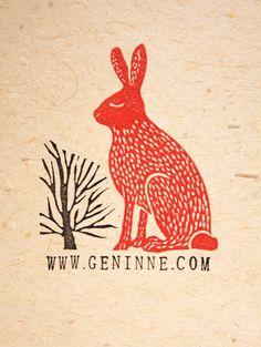 Rabbit and Tree Lino by Geninne