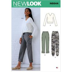 Misses Cargo Trousers and Knit Top New Look Sewing Pattern 6644. Size 8-20.