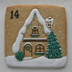 Christmas Countdown - Day 14 | Cookie Connection Gingerbread house, snowing, lightly decorated - easier to eat. Posted on Julia Usher's Cookie Connection by ClassicCookies by Parr