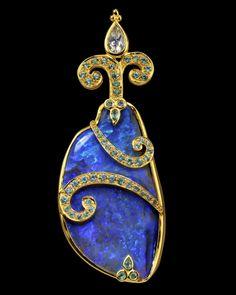 "Paula Crevoshay -  PCC508A - ""The Sea Mist Pendant"" Black Opal ""N"", Blue Zircon ""H"", Moonstone ""N"""