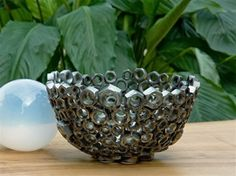 bowl made with nuts and bolts