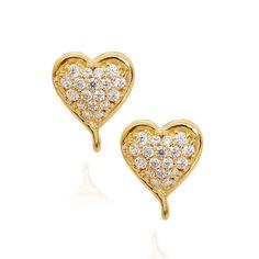 Stone Studded Little Princess Heart Gold Earrings