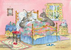 PortForLio - Rabbit in bed and rabbit bringing flowers