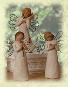 Willow Tree Angels... I have the bird and shell ones :)