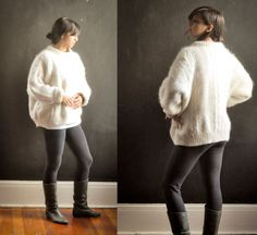 Vintage 1970s Cable Knit Wool Aran Sweater Fuzzy by drowsySwords, $99.00