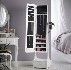Beautify Jewelry Organizer Jewelry Cabinet Armoire, Full Length Illuminating Mirror, Touch Screen LED with Mirrored Lights, Makeup Storage and Drawer - White Bedroom Tv Wall, White Wall Bedroom, Small Master Bedroom, Bedroom Storage, White Walls, Bedroom Decor, Wooden Bedroom, Bedroom Furniture, Bedroom Ideas