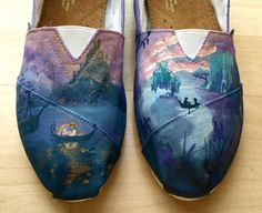 Disney Boat Love Scenes Toms Flats on Etsy, $250.00 #TheLittleMermaid #Tangled