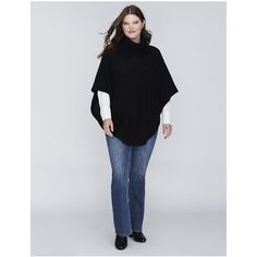 90708703392 Lane Bryant Plus Size Decorative Ribbed Poncho Sweater ( 118) ❤ liked on  Polyvore featuring tops