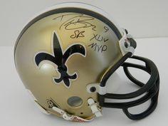Drew Brees Authentic Autographed Superbowl XLIV Mini Helmet