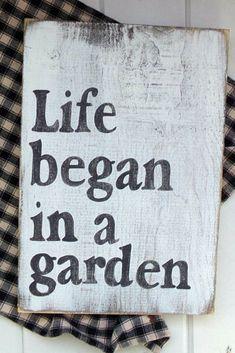 Life Began in a Garden Sign, Farmhouse Kitchen Sign, Farmhouse Decor, Rustic Kitchen Sign, Front Porch Sign, Outdoor Garden Sign, #garden #rustic #woodsigns #affil