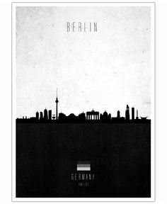 Berlin Contemporary Cityscape by Calm The Ham as Poster City Poster, Minimalist Photos, Cityscape Art, Black And White Interior, Map Globe, Map Design, Graphic Design, Black And White Illustration, Framed Prints