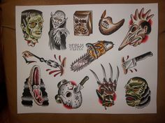 Horror: Traditional Tattoo Flash Sheet. $10.00, via Etsy.