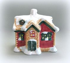 Christmas House Candle Holder Miniature House Figurine Red House Winter House Snow House Santa House Ceramic House Votive Christmas in July by afloralaffair on Etsy