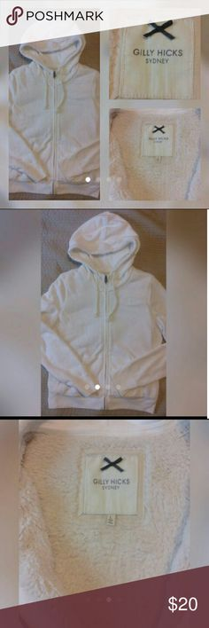 Gilly Hicks Jacket Girl's size Large  Fur lined Hooded Jacket White Good used condition  No rips or stains Gilly Hicks Jackets & Coats