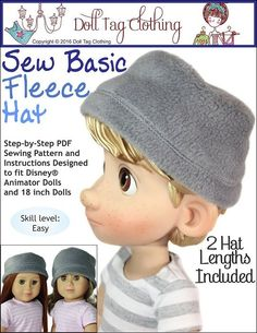 FREE Fleece hat pattern for 18 inch dolls and Disney Animators. By Doll Tag Clothing.