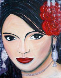 Schilderij Spanish Woman. Geschilderd met acrylverf met als basis rood.