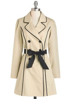 East Coast Tour Coat in Sand by Myrtlewood - 2, Long, Tan, Black, Solid, Buttons, Pockets, Trim, Belted, Long Sleeve, Spring, Exclusives, Private Label