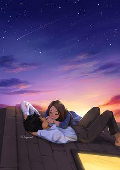 Dusk - Art Print - Couple Art - Romantic Vibe - Starry Night - Sunset - Cute Couple - On The Roof - Peijin