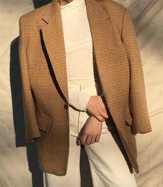 Vintage wool blend DKNY camel tweed blazer coat,oversized fit $42 + shipping SOLD