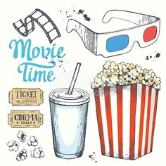 Movie time vector illustration with sketch popcorn bucket, clapperboard, glass of drink, tickets, 3D glasses. Cinema snack. Hand drawn fast food.