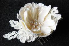 Ivory Wedding Hair Piece with Alencon Lace and Pearls - Victoria