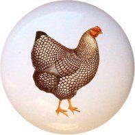 Ceramic Knob - Hen #002 - Chickens Farm Fresh Knobs
