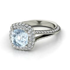 Cushion Aquamarine 14K White Gold Ring with Diamond | Elena Ring (8mm gem) | Gemvara