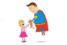 super hero saving kitty by zetwe shop on Creative Market