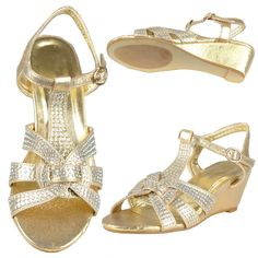 Womens Ankle Strap Rhinestone Open Toe T-Strap Dress Sandal Wedges Gold #FLByKSC #PlatformsWedges