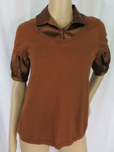 """SIMPLY VERA WANG"" BROWN SATIN & KNIT BLOUSE - PLEASE SEE ALL PICTURES #SIMPLYVERAWANG #Blouse"