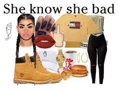 """She Knows.."" by babygirlnia14 ❤ liked on Polyvore featuring WearAll, Timberland, Lime Crime, Fragments and Versus"