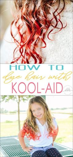 Quickly and easily dye your hair with Kool-Aid! It's fun, temporary and not hash like typical hair coloring is. Perfect for kids or anyone that wants to achieve an exciting hair color. hair color How To Dye Your Hair With Kool-Aid - Double Duty Mommy Hair Dye For Kids, Kids Hair Color, Hair Dye Colors, Cool Hair Color, Temp Hair Color, Diy Hair Dye, Hair Dye Tips, Dyed Hair, Diy Haarfärbemittel