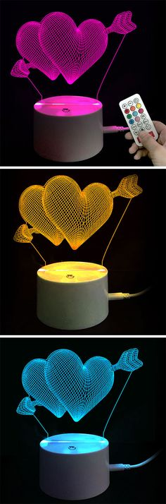 - I love you heart pattern LED night light - Colors changing automatic  - Perfect decoration creating romantic surrounding - Creative gift for valentine's day#valentinesday#valentines