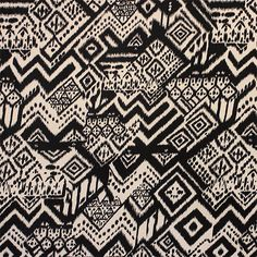 """Black Beige Shakey Ethnic Cotton Spandex Blend Knit Fabric - Black shakey style ethnic design on a beige lighter weight cotton spandex rayon blend knit.  Fabric is soft with a nice drape and four way stretch.  Largest diamond measures 3"""".  ::  $6.50"""