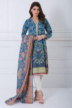 Khaadi Blue Ready to Wear Cotton 2Pcs Suit