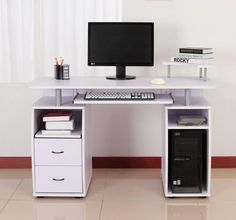 Office Computer Desk White Lilac Writing Table Keyboard Shelf Storage Drawers