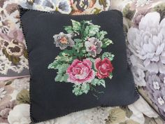 Small cross stitched cushion, embroidered cushion, pink roses, scatter cushion, black cushion, floral cushion, by NansCottageVintage on Etsy
