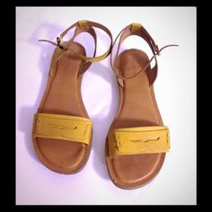 GH Bass Yellow Leather Flats W/Penny Loafer strap Used Yellow Bass flat sandals. In great condition GH Bass Shoes Flats & Loafers